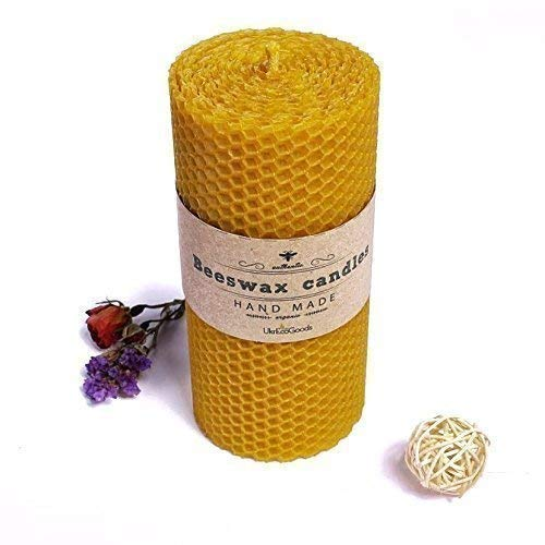 Hand-Rolled Pure Beeswax Pillar Candle - 6 Handmade Unscented Bees Wax Candles With Cotton Wick - Original Bee Hive Pillars For Relaxation, Meditation and Decor - no Petroleum - Hypoallergenic