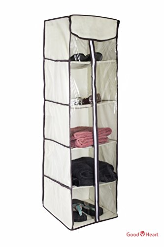 5-Shelves Hanging Closet Organizer – Collapsible Hanging Accessory Shelves Organizer for Clothes Sweater Accessories Storage – Beige / Off White (Closet Organizer Components)