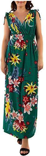 Ladies Floral Vines Imprimir Vestido de Vacaciones de Playa Casual de Verano Maxi día Green Retro