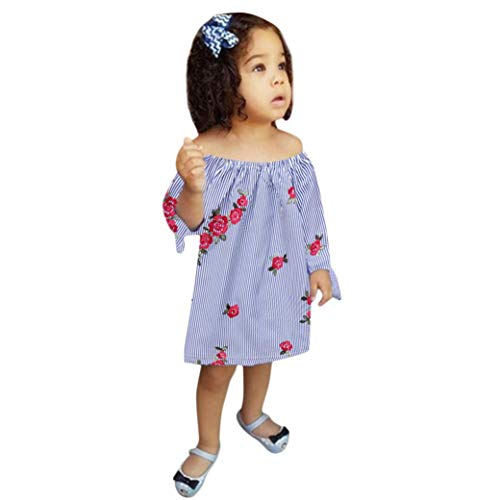 SUNTEAMO Toddler Infant Baby Girls Embroidery Floral Striped