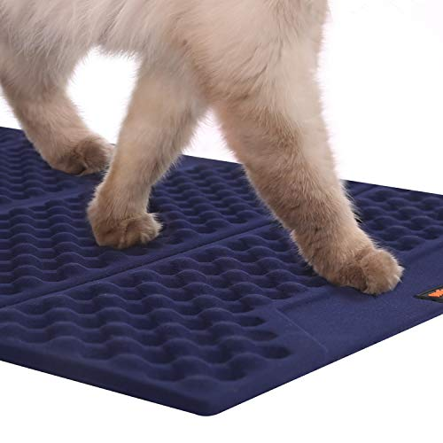 warmpet Cat Litter Mat Easy Clean Litter Trapping for Kitty Foldable Waterpoof Soft Paws Cats Mat Double Sided Available…