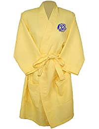 """c71c64c56d Personalized Womens Knee Length 36"""" Waffle Weave Kimono Bathrobes One Size  Fits Most Spa Robes"""