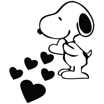 Snoopy Love Hearts - Cartoon Decal Vinyl Removable Decorative Sticker for Wall, Car, Ipad, Macbook, Laptop, Bike, Helmet, Small Appliances, Music Instruments, Motorcycle, Suitcase, - Number Cost Usps Tracking