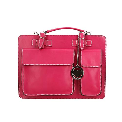 Italy Bag Medium In Cm Made Leather Organizer Briefcase 34x24x12 Chicca Fuchsia Borse Genuine xSqZ1zwz
