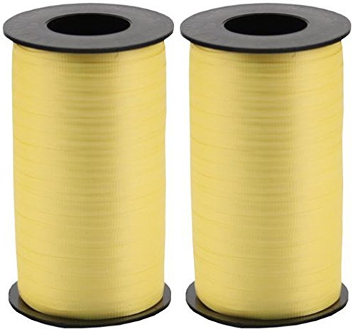 2-Pack Bundle - Berwick Splendorette Crimped Curling Ribbon, 3/16-Inch Wide by 500-Yard Spools, Yellow