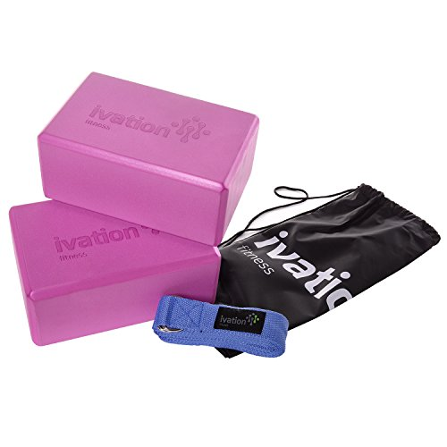 Ivation Large Yoga Blocks & 8 Foot Yoga Strap Combo Pack Safe, Durable Yoga Props Perfect for all Yoga Practices & Home Workouts Starter Guide & Carrying Case Included