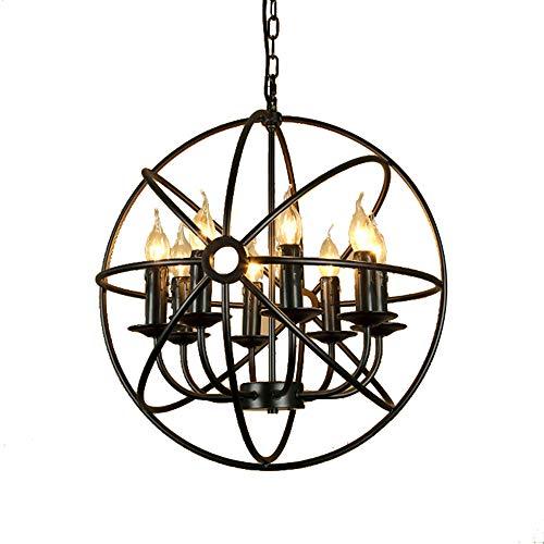 Tlinksy Globe Chandelier American Retro Spherical Candle Restaurant Cafe Wrought Iron Bird cage 6 Light Pendant - Bronze Stripes White Pendant