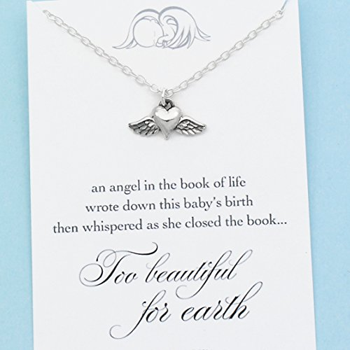 Angel Baby Memorial Charm • Miscarriage Necklace • Tiny Winged Heart • Sterling Silver • Too Beautiful for Earth (Beautiful Necklace For Too Earth)