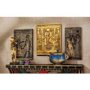 Ancient Egyptian Tut Isis Horus Wall Decor Stele Plaque - Set of 3