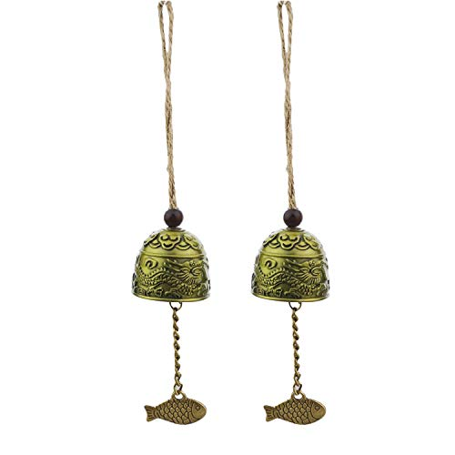 Kasteco 2 Pack Vintage Dragon Chinese Feng Shui Bell Good Luck Bless Home Garden Hanging Windchime