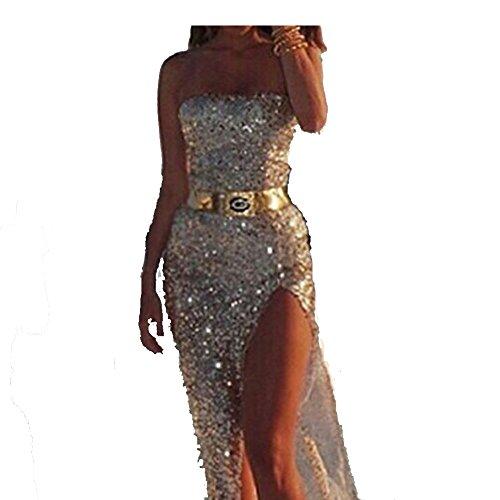 Damen Elegant Schulterfrei Brautjungfernkleider Lange Empire Abendkleider Ballkleider mit Pailletten