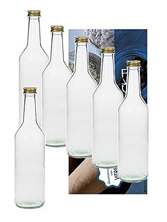 10 Leere Glasflaschen 1000ml 1 Liter Geradh Mit Schraubverschluss