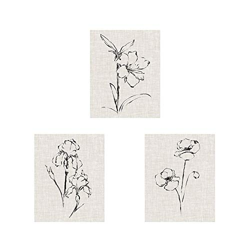 Floral Ink Study by Ethan Harper, 3 Piece Art Print Set, 8 X 10 Inches Each, Floral Art