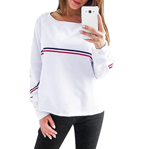 IEason Women top Womens Ladies Casual Loose Long Sleeve Sweatshirt Pullover Tops Blouse (S, White) - Sweater Vest Knit Pattern