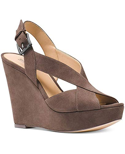 Michael Michael Kors Womens Becky Wedge Open Toe Casual Ankle, Taupe, Size 8.0