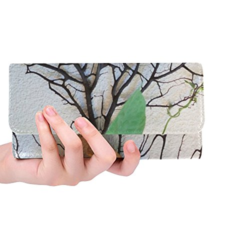 - Unique Custom Heart Blossom Bloom Winds Tender Metal Rusted Women Trifold Wallet Long Purse Credit Card Holder Case Handbag