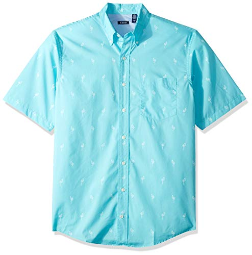 IZOD Men's Big and Tall Breeze Short Sleeve Button Down Plaid Shirt, Blue Radiance, - Coat Spread Collar