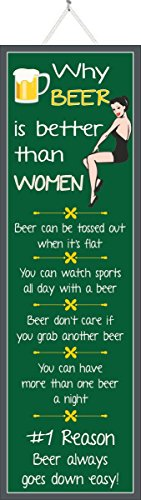 Why Beer is Better Than Women Funny Sign in Green with Pinup Girl in Black and Beer Mug - Fun Sign Factory Original Funny Quote Decor