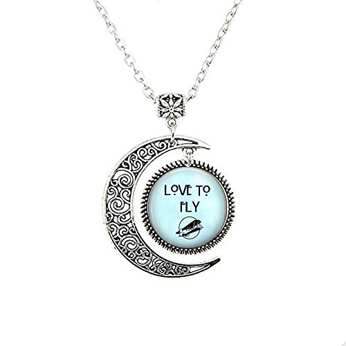 Flying Moon Necklace Love to Fly- Flying Jewelry - Airplane - Aviator Aviatrix - Love to Travel - Pilot Gift - Flight Attendant]()