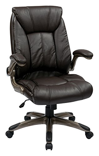 UPC 066513595372, Work Smart Faux Leather Mid Back Managers Chair with Padded Flip Arms - Cocoa