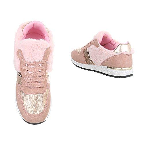 Ital-Design Sneakers Low Damenschuhe Schnürsenkel Freizeitschuhe Pink G-25-1