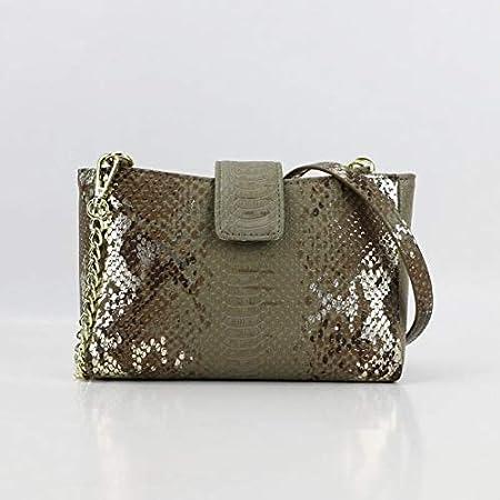 Mdsfe 2020 Nuevo Bolso de diseñador de Moda Bolso de Cadena de Hombro de Mujer Bolso de Cuero de PU de pitón en Relieve Bolso Bandolera de Gran Capacidad Lady Trendy Bag-Snake Khaki, 29X20X1CM