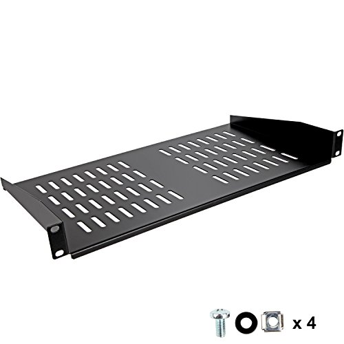 Rack Shelf by SimpleCord - Universal Cantilever Vented 1U Rack Tray For 19-inch Server Racks and Cabinets – Premium Heavy Duty Cold Rolled Steel Designed to Hold Network and AV Equipment - 2 Post Rack Shelves