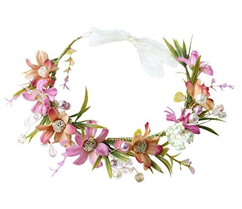 Vivivalue Pearl Flower Crown Floral Garland Headband Flower Halo Headpiece Hair Wreath Boho with Ribbon Wedding Party Festival Photos Rosy (Pearl Flower Hawaiian Mother Of)