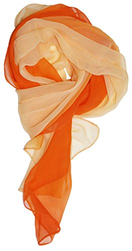 Just Libby-Women's Silk Blend Ombre Oblong Scarf Oranges