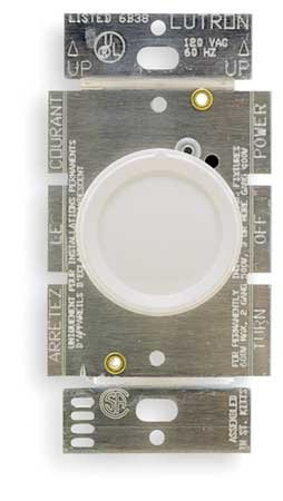 (Lutron D-600PH-WH Single Pole Rotary Dimmer with Push On/Off Knob for Line Voltage, White)