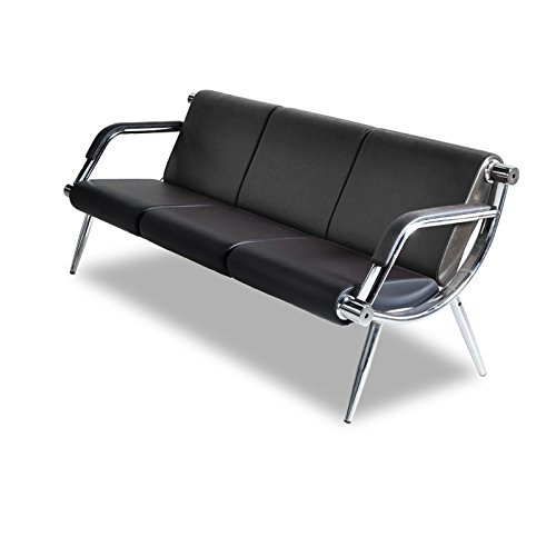 BORELAX 3-Seat Office Reception Chair PU Leather Waiting Room Bench Visitor Guest Sofa Airport Clinic Black