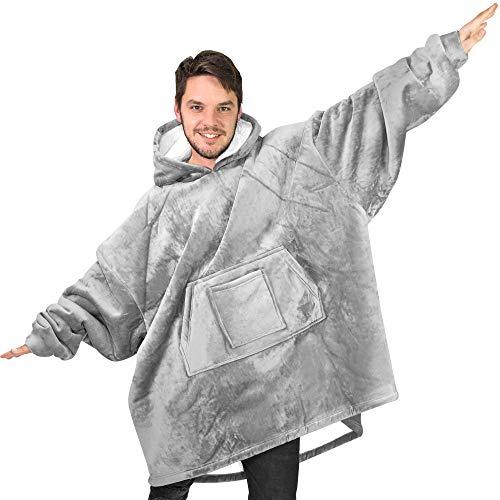 Rongo Oversized Sweatshirt Hoodie Blanket for Men, Women & Kids – Double-Sided with Sherpa & Plush Fleece Lining – Kangaroo Pocket Giant Hoody with Extra Front Pocket for Mobile Phone, Bottle or Keys ()