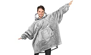 Rongo Oversized Sweatshirt Hoodie Blanket for Men, Women & Kids – Double-Sided with Sherpa & Plush Fleece Lining – Kangaroo Pocket Giant Hoody with Extra Front Pocket for Mobile Phone, Bottle or Keys