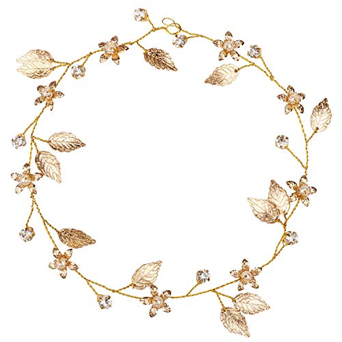Ondder Wedding Hair Vine Headpiece Gold Leaf Flower Headband Crystal Pearl Bridal Halo Crown Tiara Accessories for Bride and Bridesmaid ()