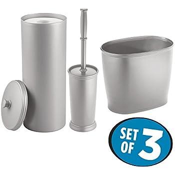 Mdesign toilet paper roll holder bowl brush for Bathroom wastebasket sets