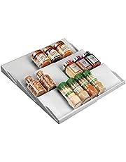 mDesign - Kruidenrek - lade-organizer - voor keuken, badkamer en kantoor - voor kruiden en specerijen - uitschuifbaar/3 etages - grijs