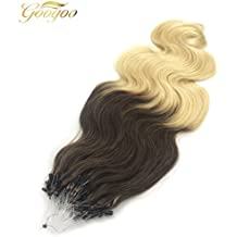 Googoo Micro Loop Ring Hair Extension Ombre Brown to blonde Remy Loop Hair Extensions with Beads 100g per package