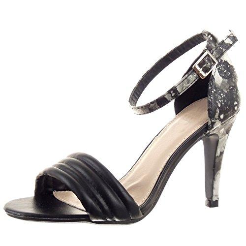Sopily - Chaussure Mode Escarpin Stiletto hauteur cheville femmes fleurs Lignes Talon haut aiguille 9.5 CM - Noir