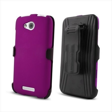 Beyond Cell 3-in-1 Combo Set Protector Case, Holster Belt Clip and Screen Guard for HTC One VX - Non-Retail Packaging - (Screen Protector Htc One Vx)