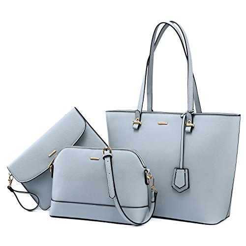 Purses and Handbags Designer Handbags for Women Tote + Crossbody + Envelope 3 Purses Set (Gray Blue)