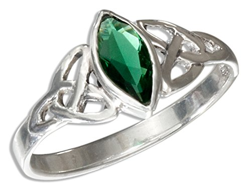 Sterling Silver Celtic Trinity Knot Ring with Green Cubic Zirconia Marquis