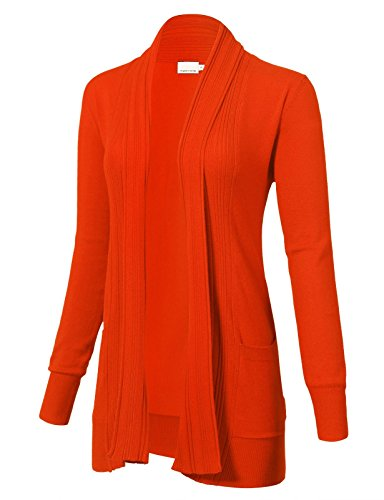 ARC Studio Women's Long Sleeve Open Front Draped Cardigans Pocket L Orange