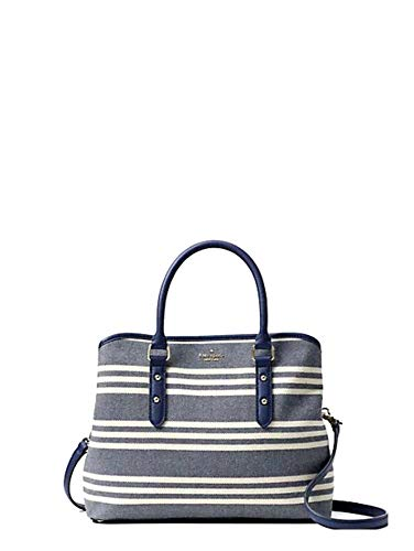 (Kate Spade Larchmont Avenue Fabric Stripe Evangelie (French Navy) )