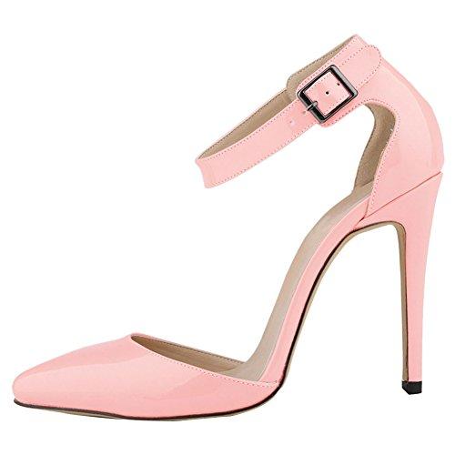 Fereshte Donna Da Donna Tacco Alto A Punta Caviglia Cinturino Scarpette Rosa