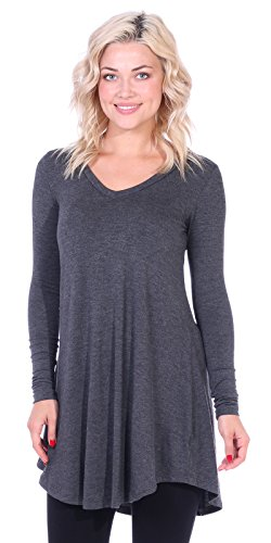 Popana Women's Tunic Tops for Leggings Long Sleeve Shirt Plus Size Made in USA X-Large Charcoal (Clothing Made Women In Usa)