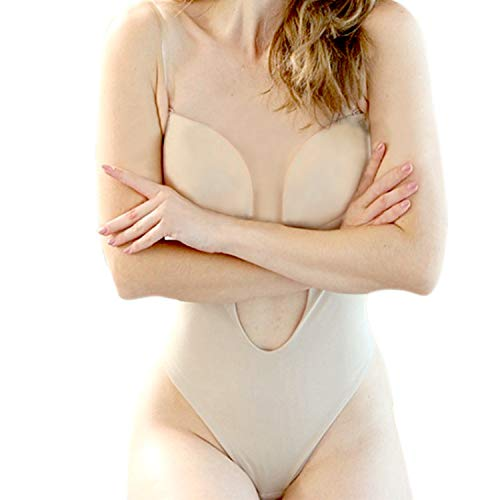 Defitshape Women's Backless Bodysuits U Plunge Seamless Thong Full Bodysuits Khaki 38 fit 38C/38D/40B/40D