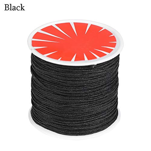 FINCOS New 45M/ Roll 0.8mm Braided Cords Chinese Knot Bracelet String Macrame Rattail Necklace Thread Satin Silk Cord Wire Nylon Rope - (Color: Black) ()