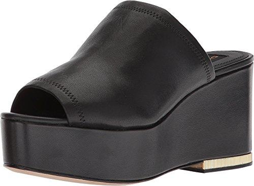 Black Stretch Nappa Footwear - Donna Karan Women's Sade Sandal Black Leather Stretch Nappa 10 M US