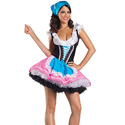 Quesera Women's Beer Girl Costume Oktoberfest Serving Wench Adult Dirndl Dress,Blue,Tag size XL=US size (Sexy Beer Maiden Costume)