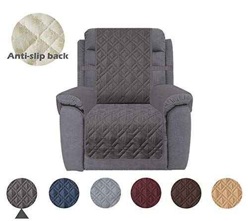 """Ameritex Waterproof Nonslip Recliner Cover Stay in Place, Dog Chair Cover Furniture Protector, Ideal Recliner Slipcovers for Pets and Kids (23"""", Dark Grey)"""